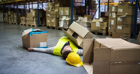Warehouse worker after an accident in a warehouse